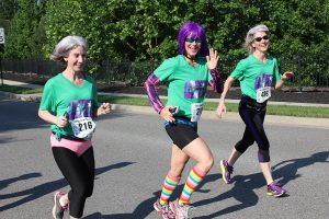 Girls Running in the Boxer Brief 5K by Hitting Cancer Below the Belt